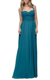 Halter Ruched Floor-length Chiffon Bridesmaid Dress