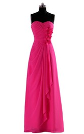 Strapless Floor-length Dress With Draping and Flowers