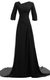 Modest Chiffon Long Sleeve Gown With Ruched Bodice