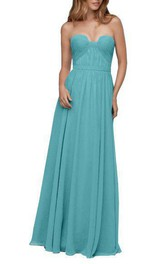 Strapless Ruched Chiffon Long Bridesmaid Dress