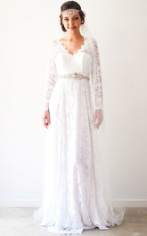 Sheath Long-Sleeve V-Neck Lace Wedding Dress With Waist Jewellery
