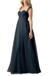 Cap Sleeve Tulle A-line Long Dress