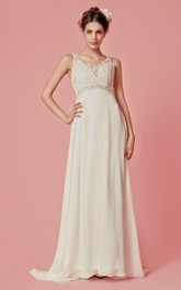 Sleeveless V Neck Long Chiffon Dress With Beaded Lace Detailing