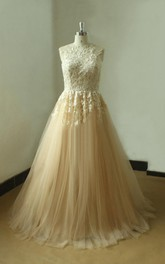 Tulle and Lace Sleeveless A-Line Dress With Pleats and High Neck