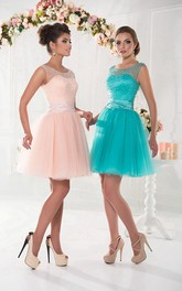 A-Line Short Jewel Sleeveless Tulle Beading Pleats Lace-Up Dress