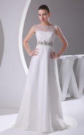 Sleeveless Beaded Maxi Dress With Illusion Neckline