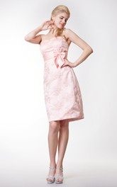 Sweetheart Empire Lace Sheath Short Dress With Bow