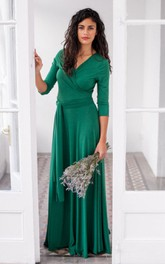 V Neck 3-4 Sleeve A-line Pleated Jersey Long Dress With Sash