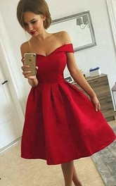 A-line Sleeveless Satin Off-the-shoulder Zipper Tea-length Homecoming Dress