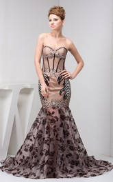 Sweetheart A-Line Column Rhinestone and Gown With Lace