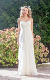 Sweetheart Empire Backless Sheath Floor-Length Chiffon Wedding Dress