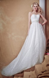 Inspired Sweetheart Tulle Wedding Gown With Belt
