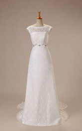 Elegant Cap Sleeve Bateau Neck Lace Dress With Beaded Waist and Back Bow
