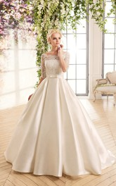 Ball Gown Long Bateau Half-Sleeve Illusion Satin Dress With Lace