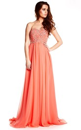 Strapless Beaded Chiffon Prom Dress With Brush Train