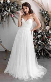 Ethereal Sexy Lace Tulle Spaghetti V-neck A-line Casual Bridal Gown With Court Train
