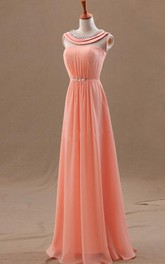 A-line Sleeveless Scoop Beading Chiffon Floor-length Dresses