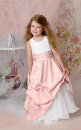 Flower Girl Jewel Organza Ball Gown With Taffeta Pick-up Skirt
