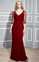 Floor-Length V-Neck Ruched Half-Sleeve Jersey Formal Dress With Beading