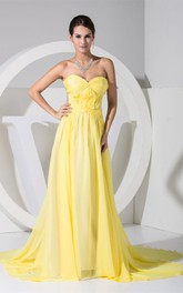 Sweetheart Pleated Chiffon Dress With Ruching Backless Design