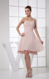 Spaghetti Straps Knee Length A-Line Chiffon Dress With Beadings and Zipper Back