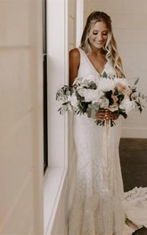 Ethereal Lace V-Neck Sleeveless Court Train Wedding Dress