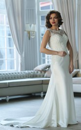 Sheath Floor-Length Scoop Sleeveless Keyhole Satin Dress With Appliques