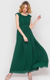 Scoop Neck Cap Sleeve Pleated A-line Chiffon Ankle Length Dress Forest Green