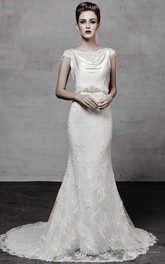 Floor-Length Cowl Appliqued Cap-Sleeve Lace Wedding Dress With Beading