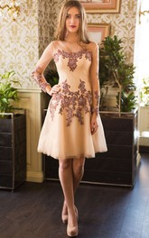 A-Line Short Bateau Long Sleeve Lace Appliques Lace-Up Dress