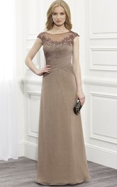 A-Line Long Appliqued Scoop Cap-Sleeve Chiffon Formal Dress With Illusion Back And Ruching