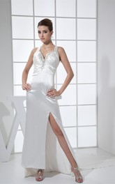 Plunged Satin Maxi Haltered Court Train and Dress With Beading