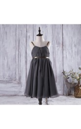 Spaghetti Straps Pleated Chiffon Long Dress With V Back and Keyhole
