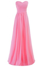 Simplistic Strapless Sweetheart Ruched Chiffon A-line Dress