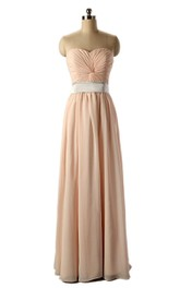 Strapless Long Chiffon Gown With Knot Detail