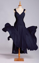 Amazing A-line Tea-length Dress with Dropped Waist