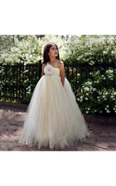 One-shoulder Empire Pleated Tulle Ball Gown With Flower