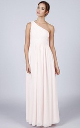 One Shoulder A-line Pleated Chiffon Floor Length Dress Ivory