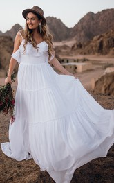 Bohemian Spaghetti Chiffon A Line Sleeveless Floor-length Sweep Train Wedding Dress with Ruffles