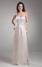 Wonderful Satin Beaded Sheath Maxi Special Occasion Dresses