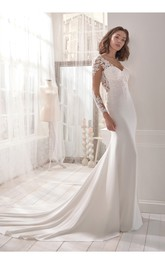 Charming V-neck Sheath Wedding Dress With Illusion Back