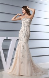 Sleeveless Mermaid Tulle Notched Pleats and Dress Beading