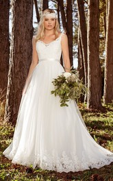 A-line Straps Court Train Boho Wedding Dress with Applique
