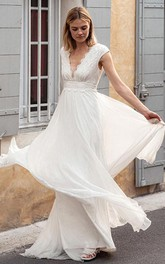 Bohemian V-neck Chiffon Lace A Line Short Sleeve Sweep Train Wedding Dress with V Back