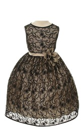 Cap-sleeved A-line Lace Dress With Flower and Pleats