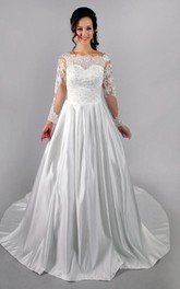 Long Sleeve Lace-Bodice Satin Dress With Beadings and Pleats