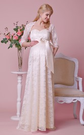Empire Sweetheart A-line Lace Long Dress With Sash