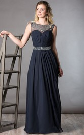 Crystal Neck Sleeveless A-Line Pleated Chiffon Long Mother Of The Bride Dress With Crystal Waist