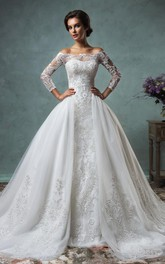 A-Line Off-The-Shoulder Long Sleeve Court Train Tulle Lace Wedding Dress