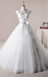 Ball Gown Long Straps Beading Appliques Ruffles Straps Tulle Lace Dress